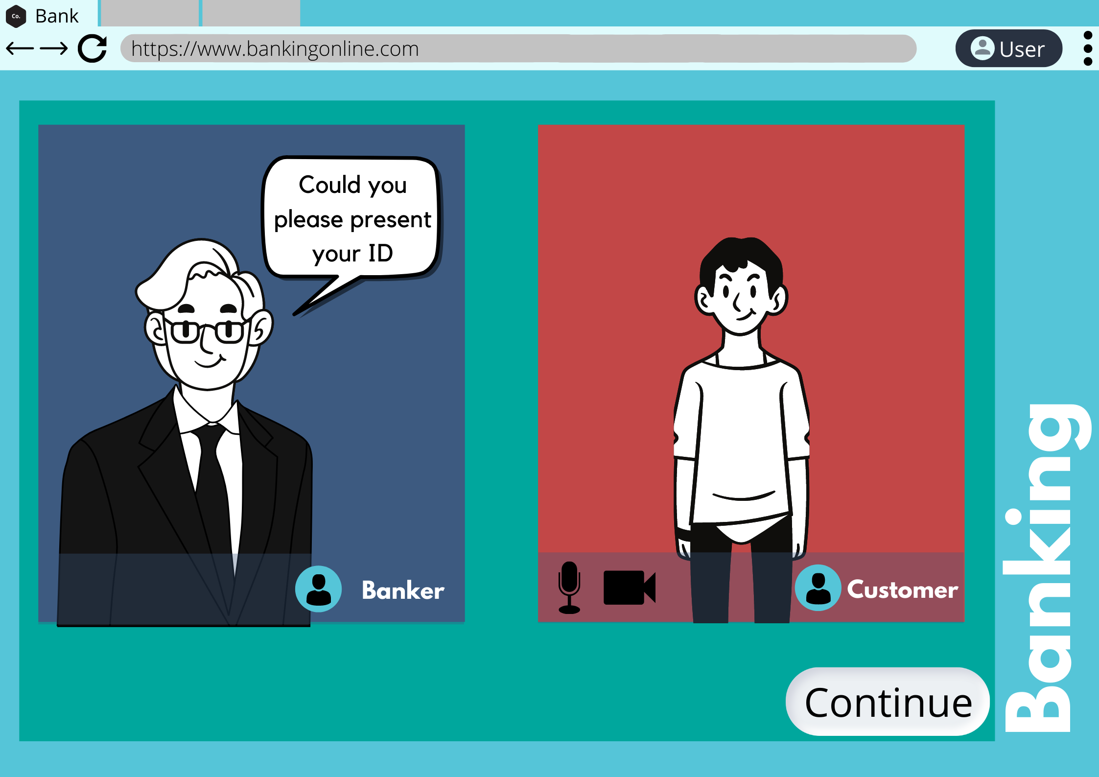 Image of a Video call between banker and customer - online verification