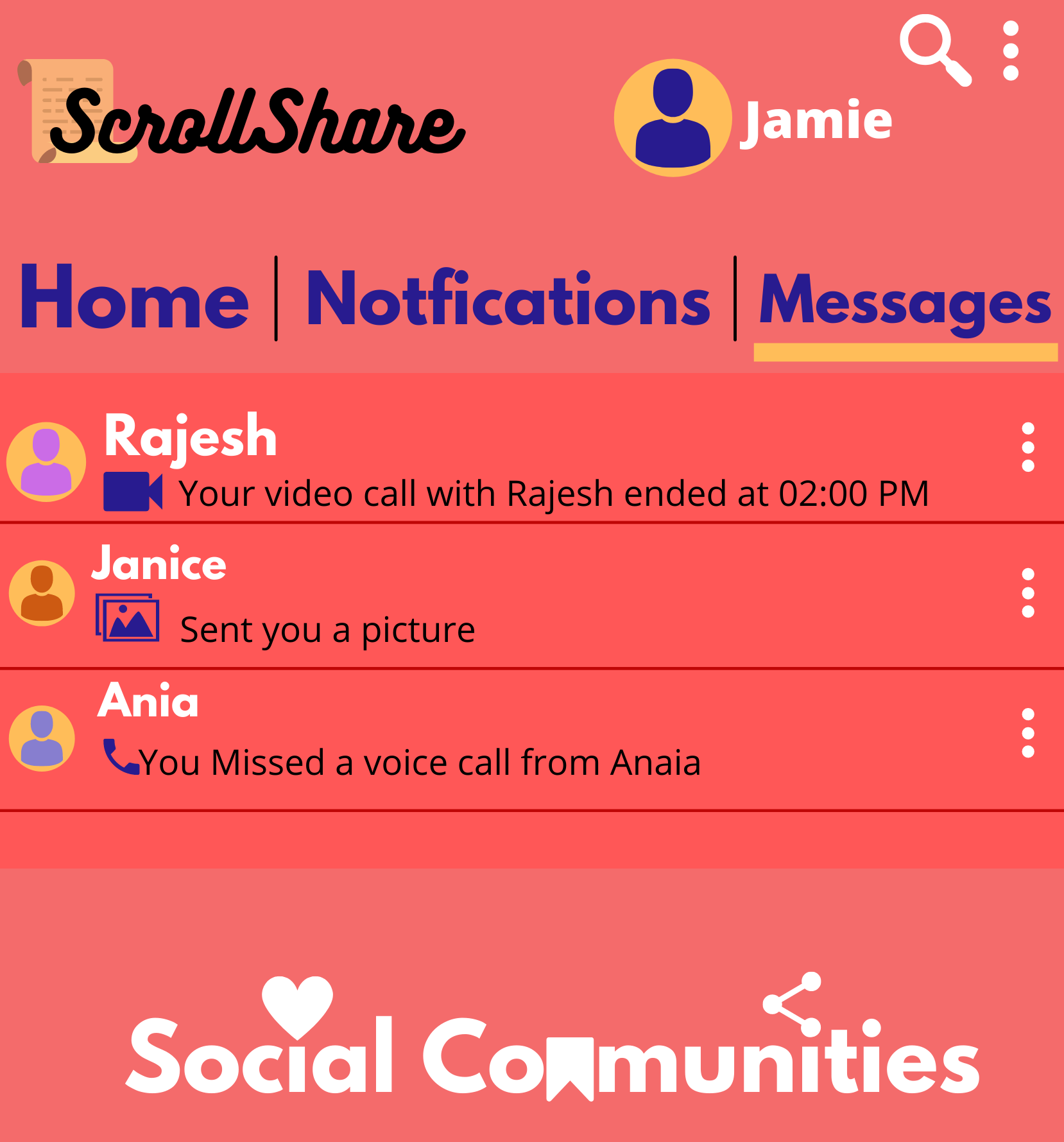 Image of chat on social community app