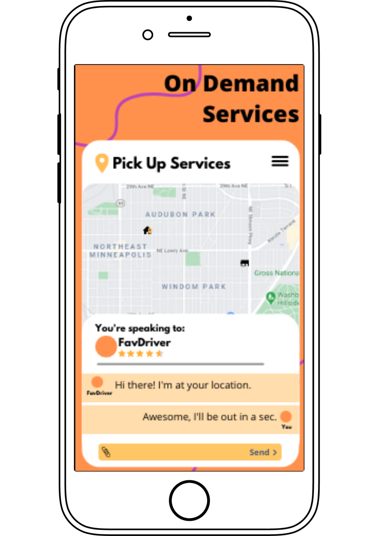 Image of passenger texting driver via in-app chat of an online cab service
