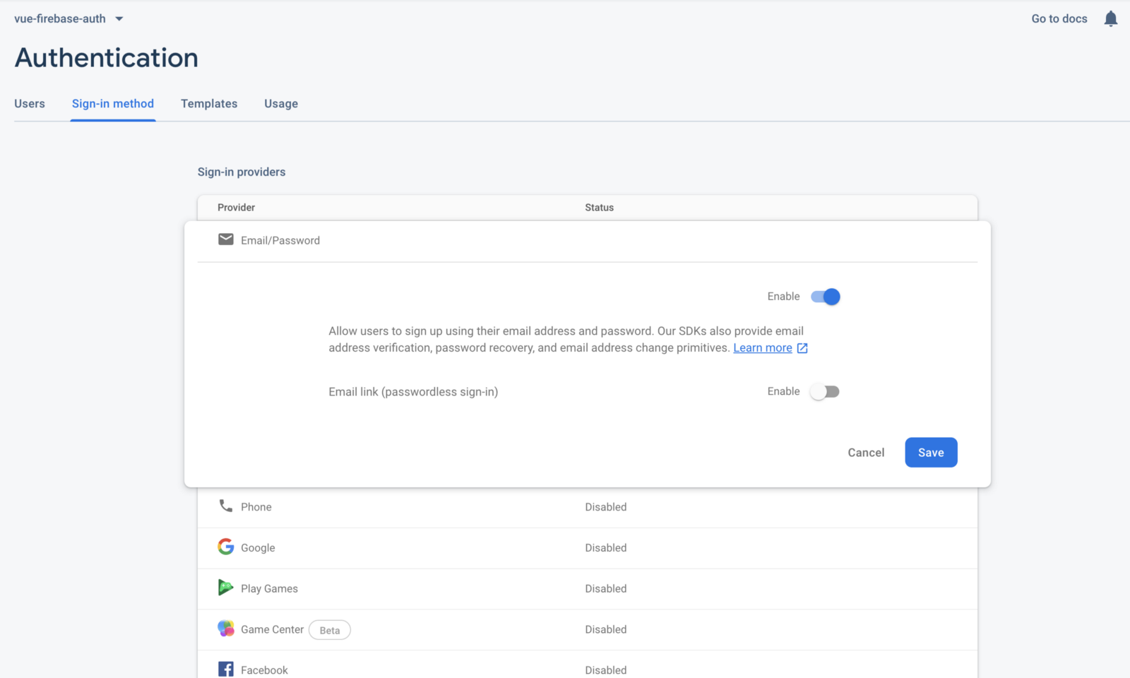 Firebase Enabling Authentication