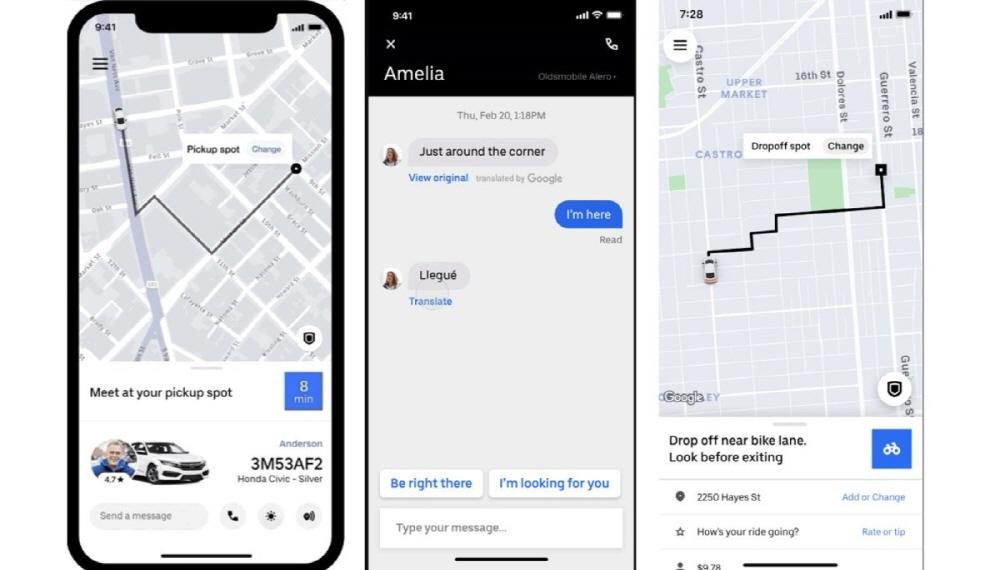Uber app's chat