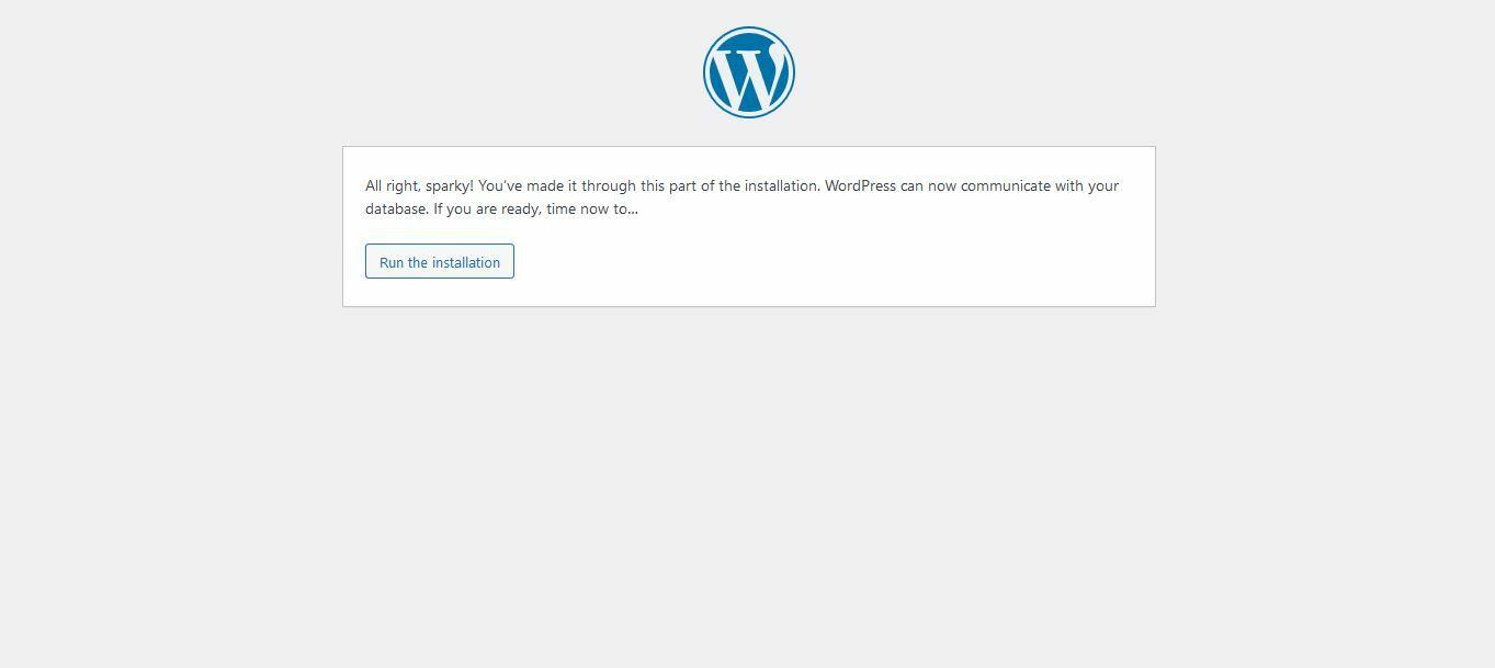 Click on Run Installation button to install WordPress