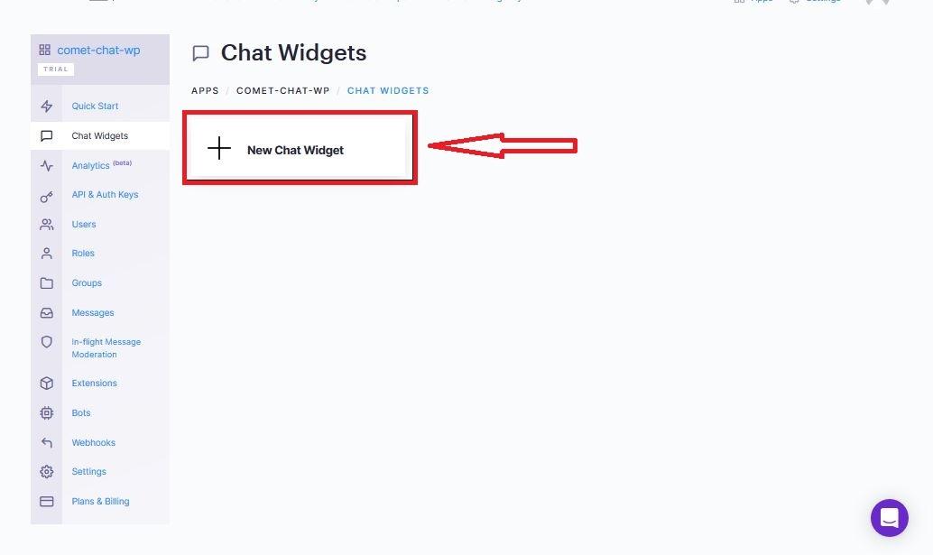 add new Chat Widget button