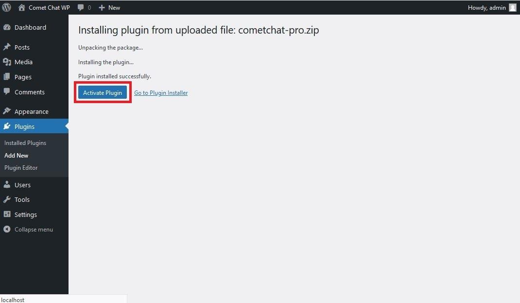 Plugin Installation Success Page