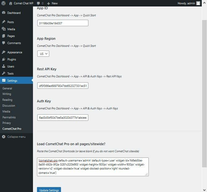 CometChat Pro configurations filled