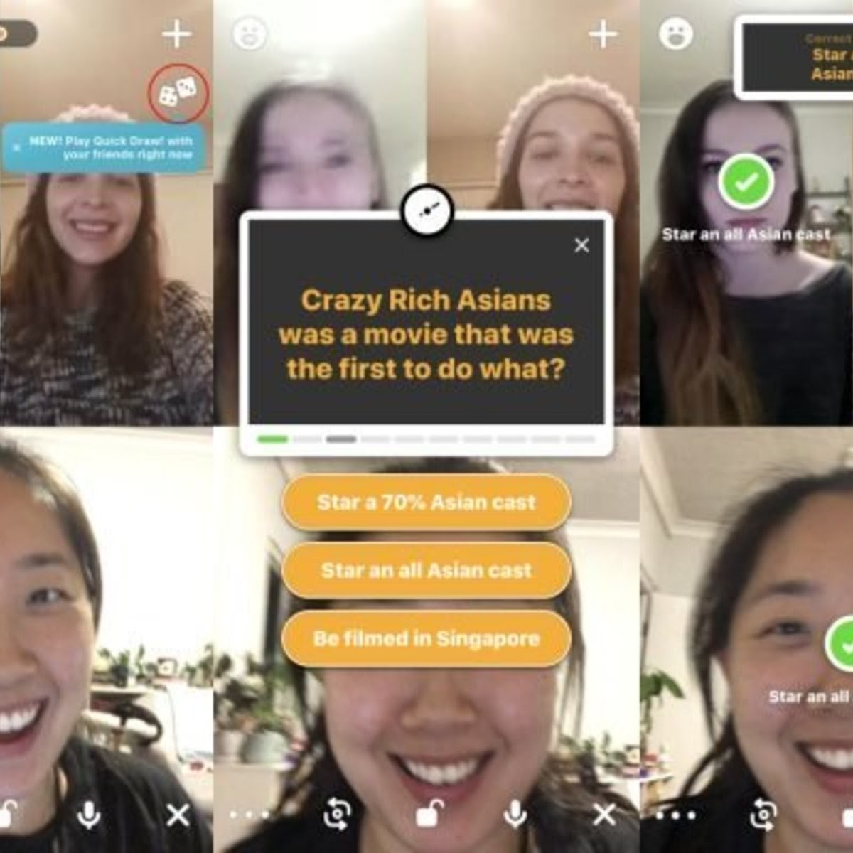 screenshot of a video chat game in houseparty app