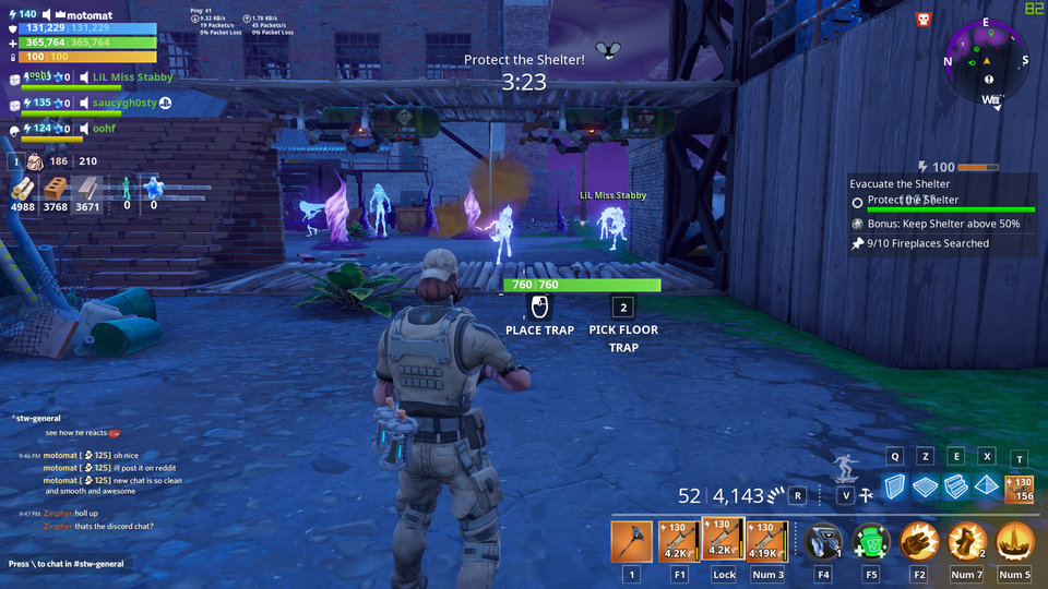 Screenshot of in-game chat in Fornite