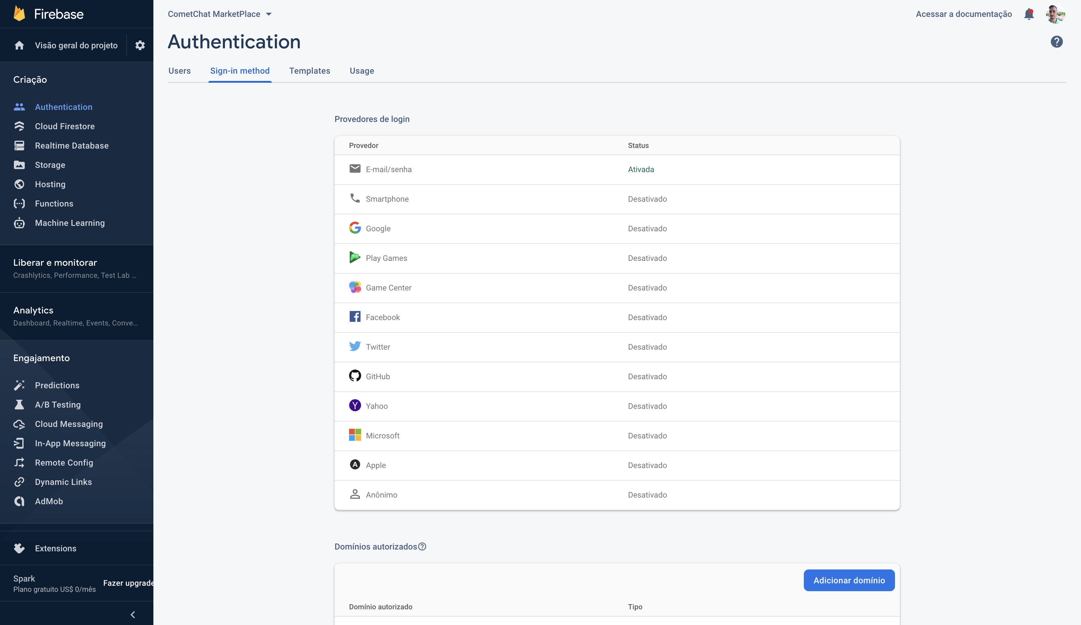 Enabling Authentication in Firebase