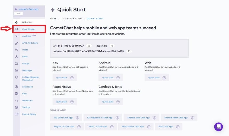 CometChat App Dashboard
