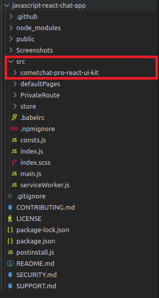 React UI Kit Copied into the src folder