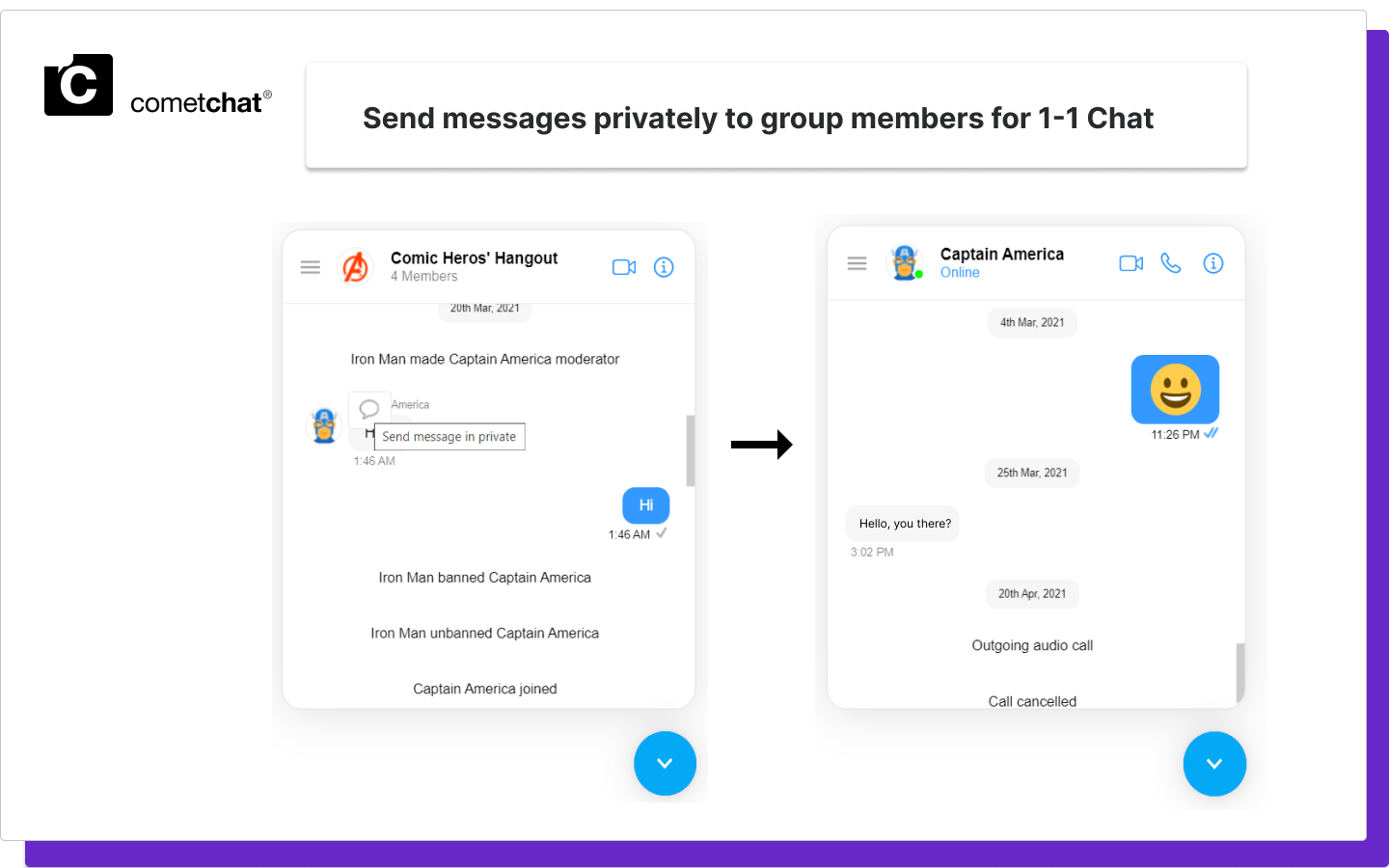 cometchat group hat features