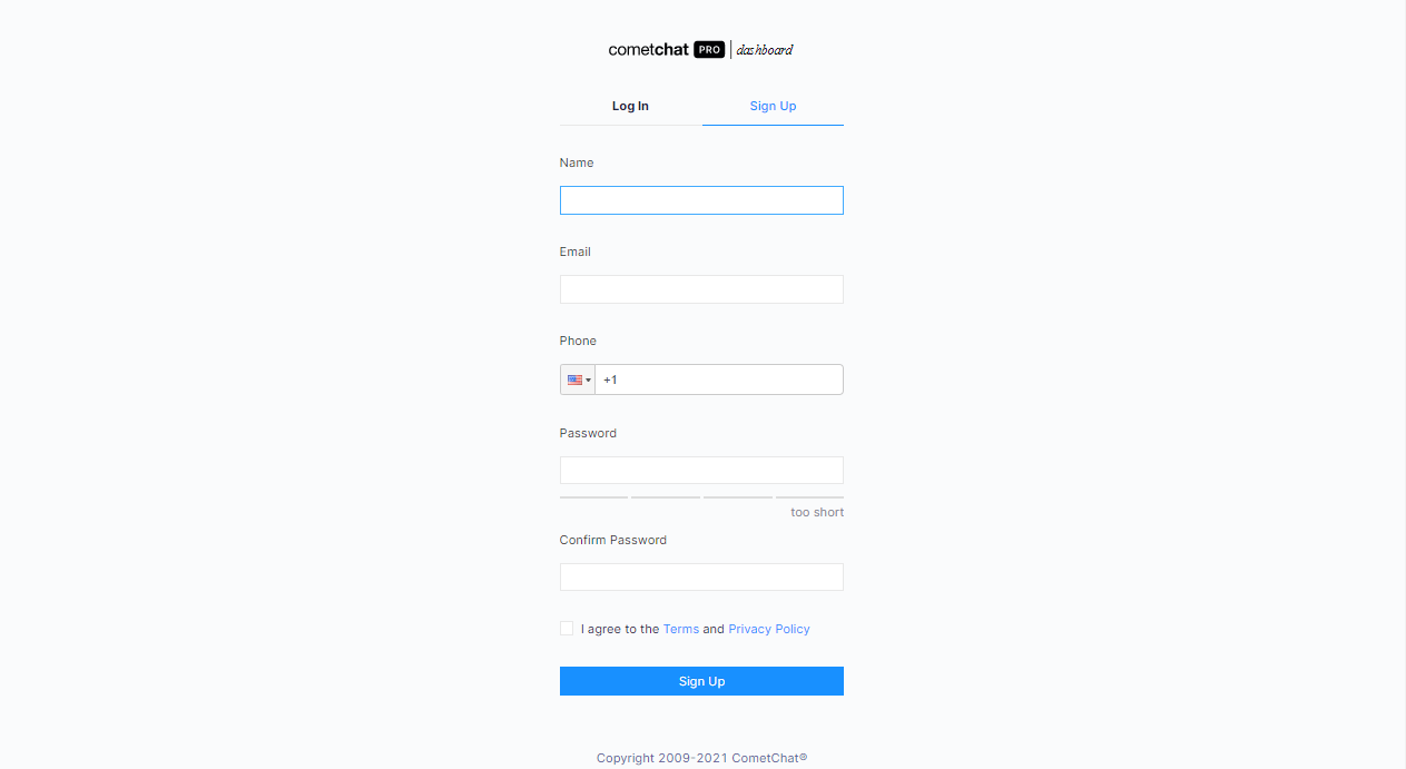 Creating CometChat account/Setting up CometChat app