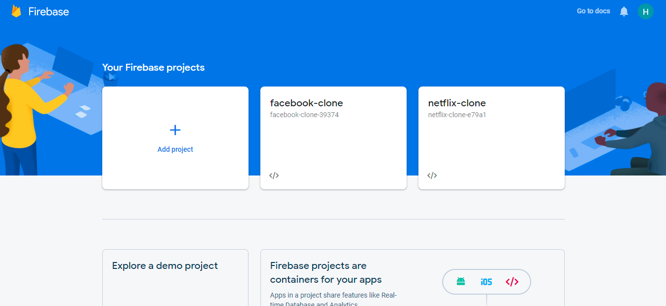 Firebase landing page displaying new projects within a blue window