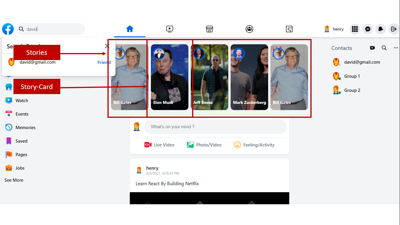 Facebook timeline highlighting stories and story-card