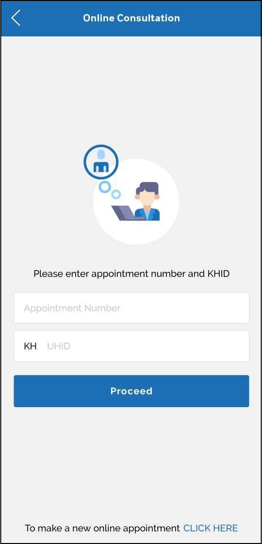 Online consultation with appointment number and UHID boxes