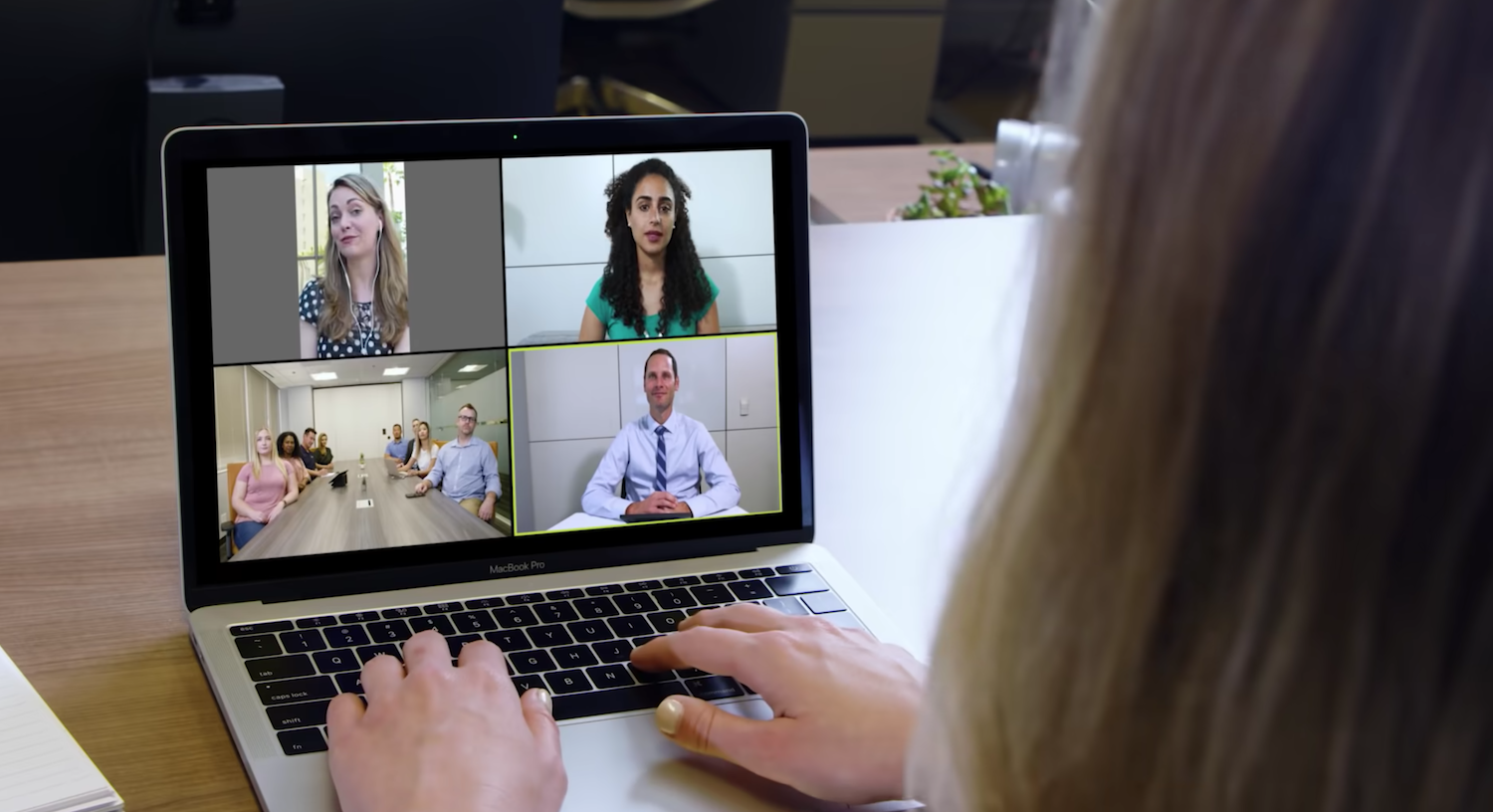 A woman on a Zoom video conferencing call for Healthcare