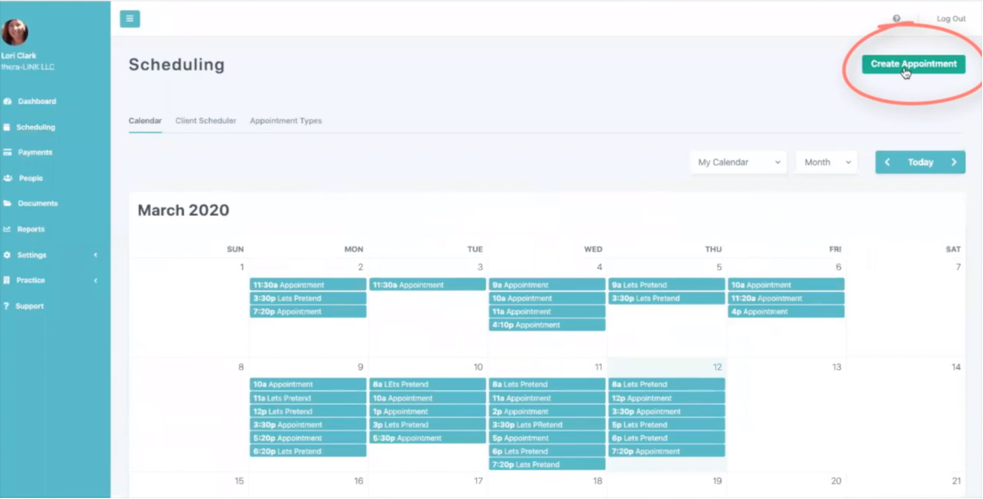 Thera-LINK Dashboard with a highlight on the 'Create Appointment' button