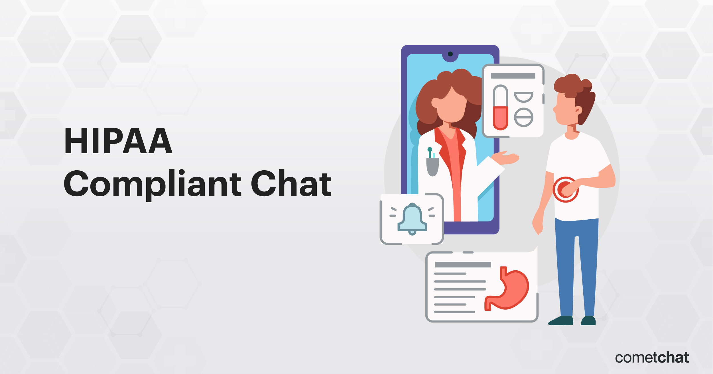 HIPAA Compliant Chat App showing a secure conversation between the doctor and patient