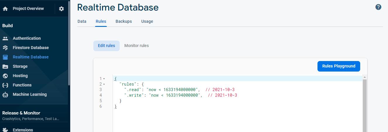 Update Firebase Realtime Database Rules