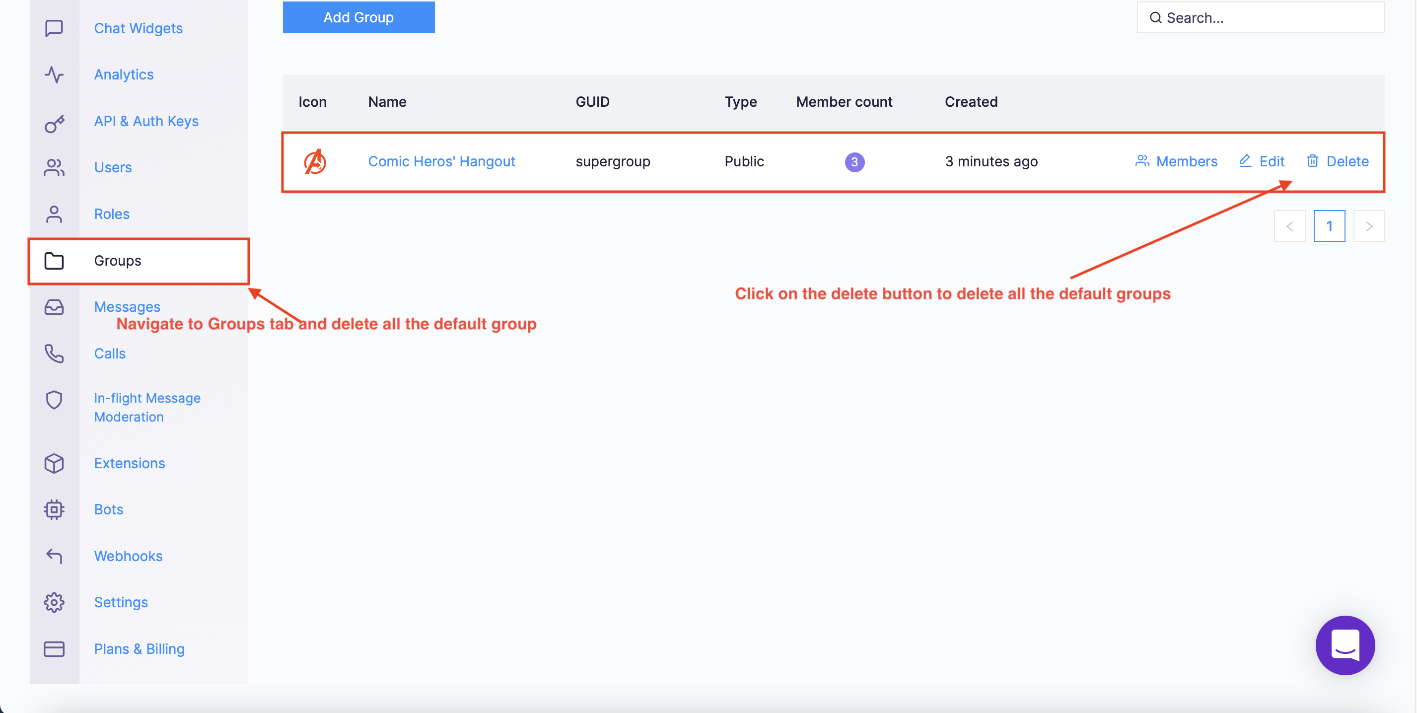 Navigate to Group tab and delete all the default groups