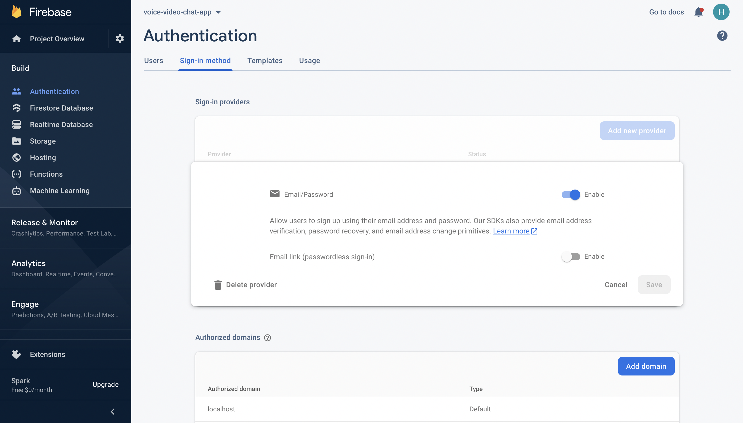 Enable Firebase Authentication with Email and Password