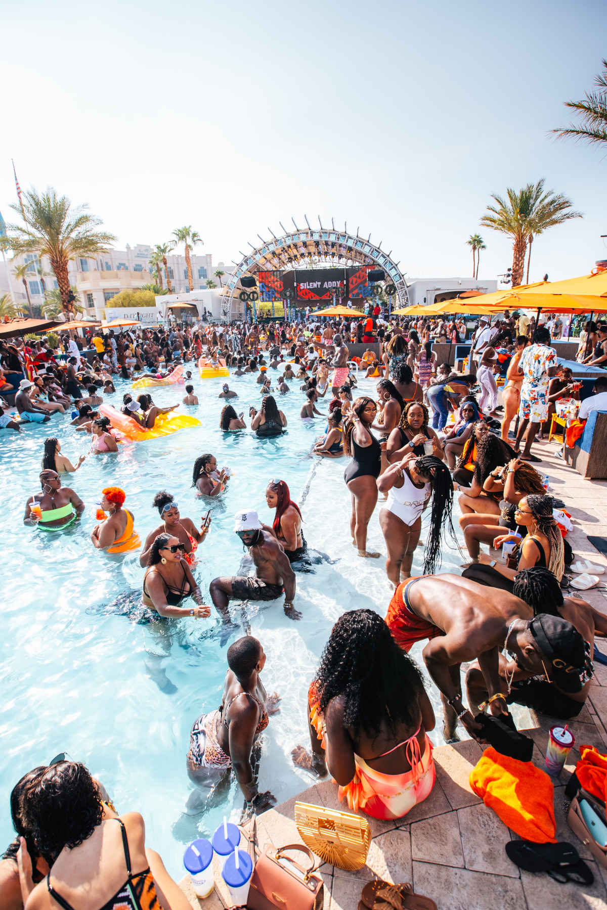 Afro nation crowd at pool party