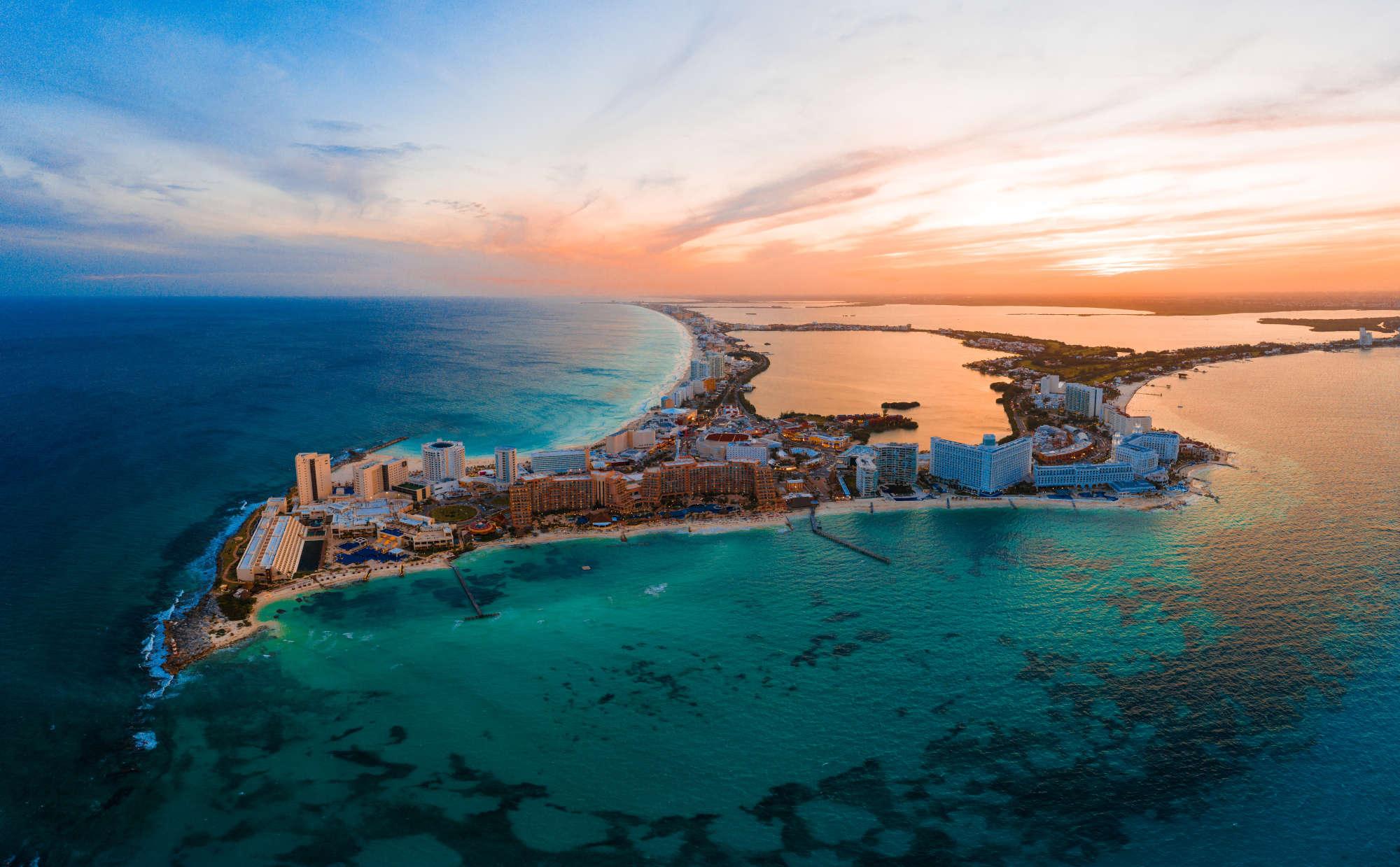Cancún Mexico beach sunset aerial