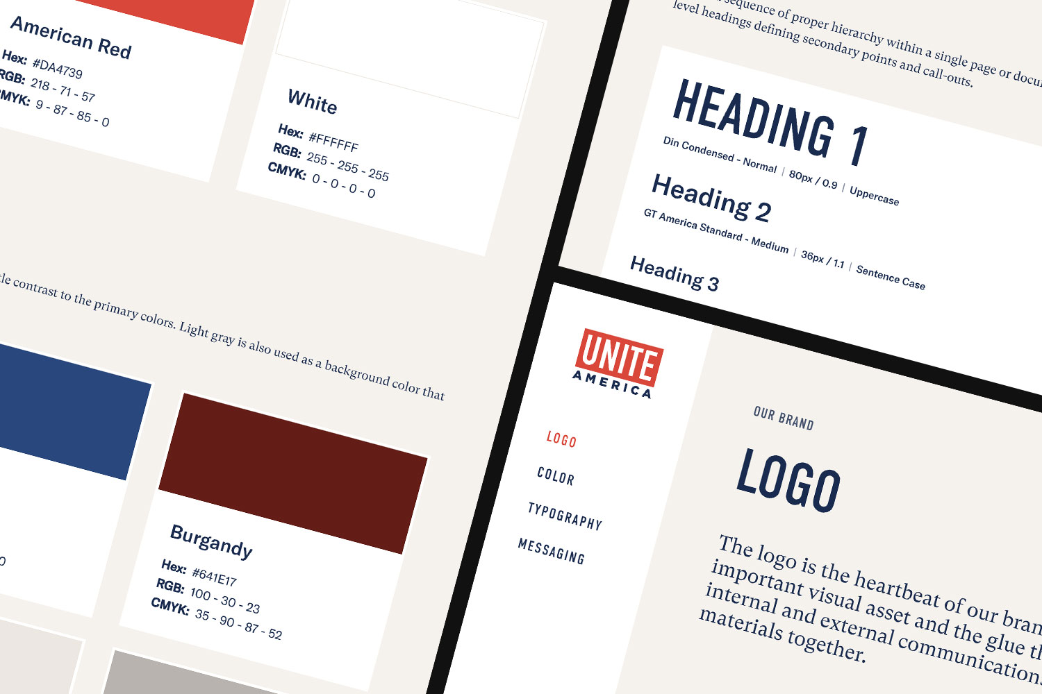 Brand guide screenshots showing color, typography and logo
