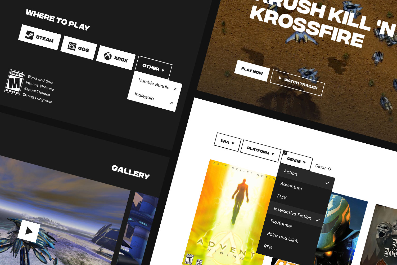 Screenshots of Ziggurat buttons, filters and gallery UI