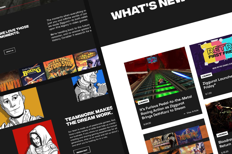 Screenshots of Ziggurat about and news list page