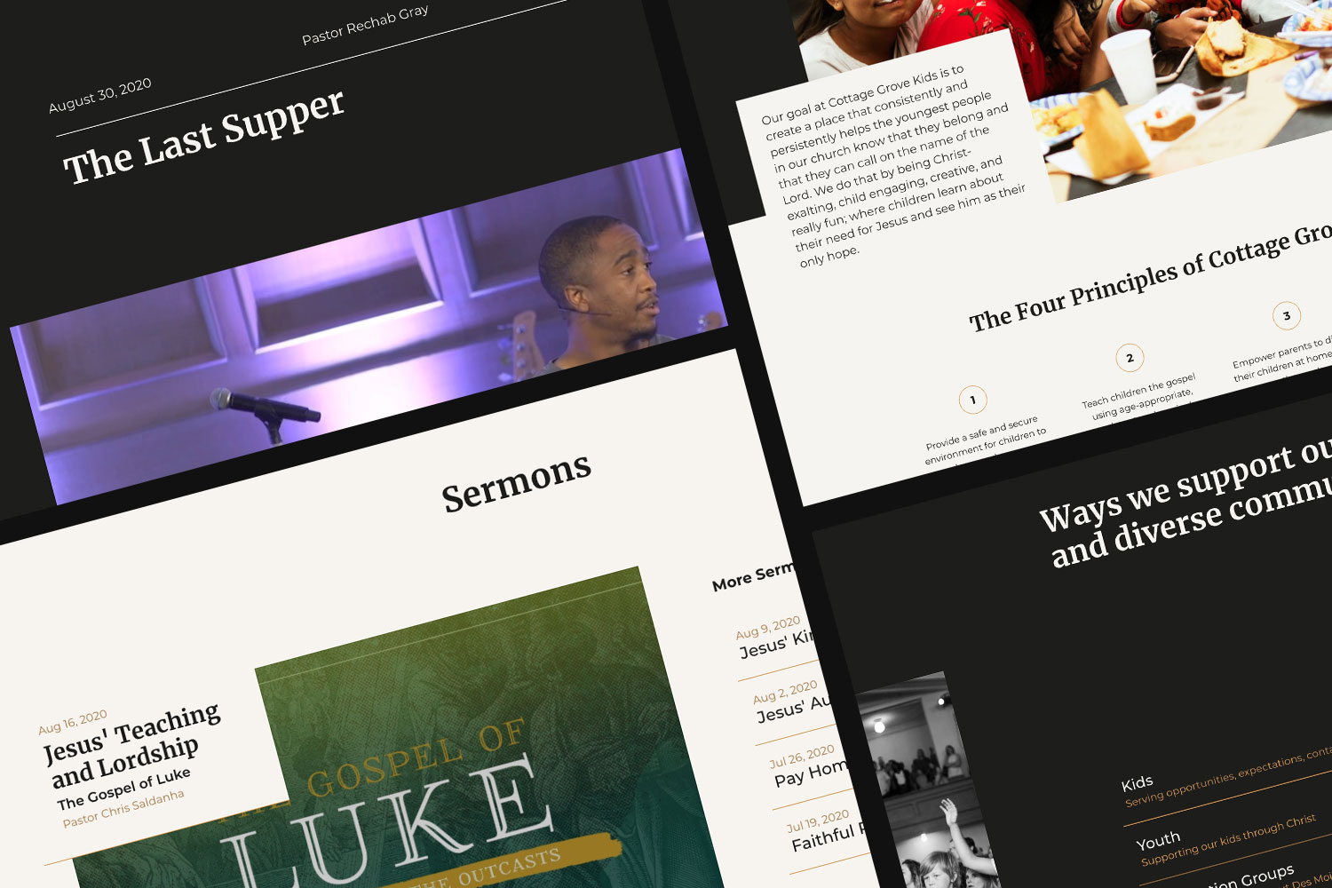 Screenshots of Cottage Grove sermon page, lists and kids page