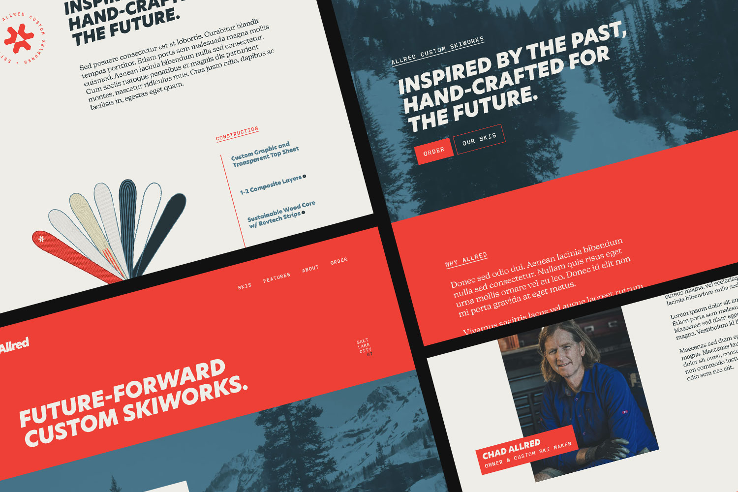 Various initial concepts for the Allred website UI