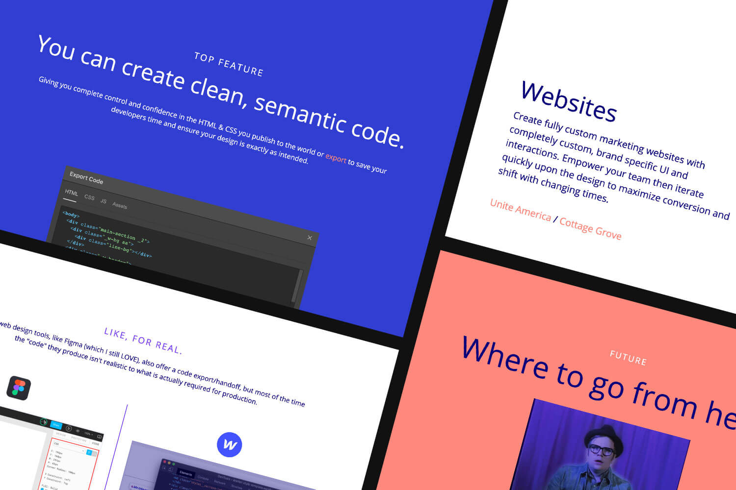 Examples slides from presentation like Webflow clean code and where to go from here