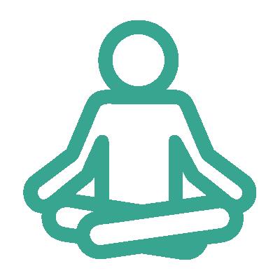 yoga meditation icon of person in seated, cross-legged postiion