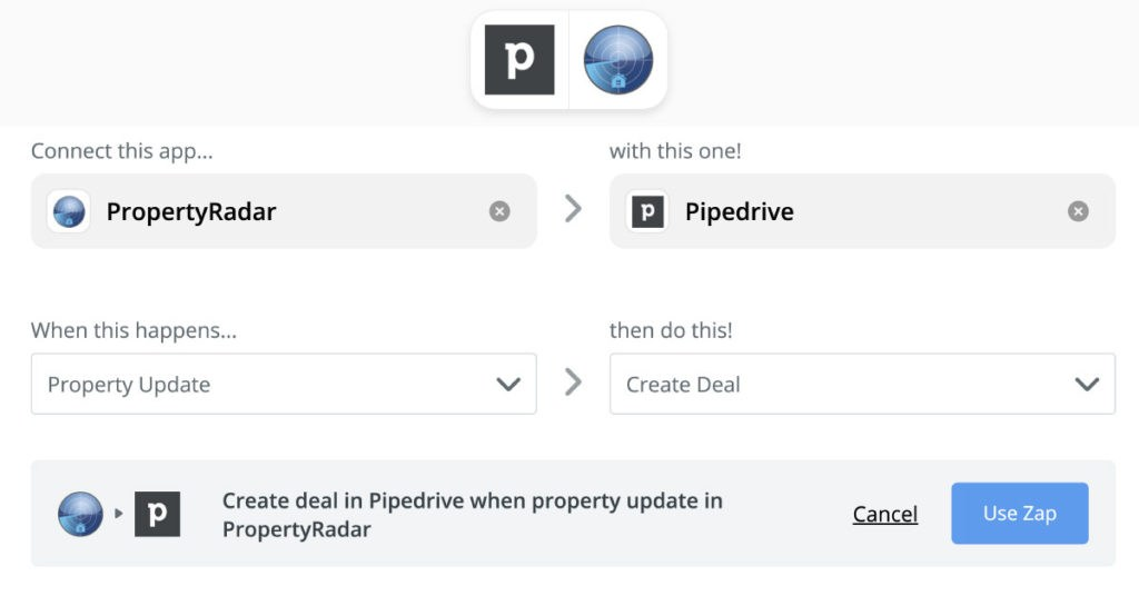 Integrate PropertyRadar with Pipedrive CRM using Zapier