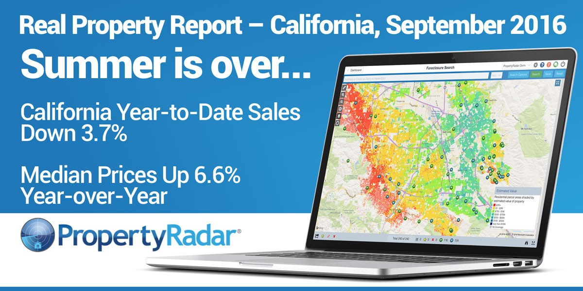 California Year-to-Date Sales Down 3.7% from 2015, September Median Prices Up 6.6% Year-over-Year, Cash Sales in September 2016 fell 11.4%