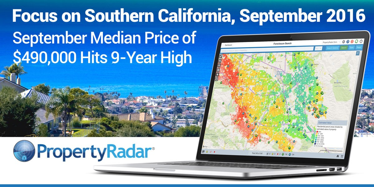 Southern California 2016 Year-to-Date Home Sales Down 1.8 Percent from 2015; September Median Price of $490,000 Hits 9-Year High