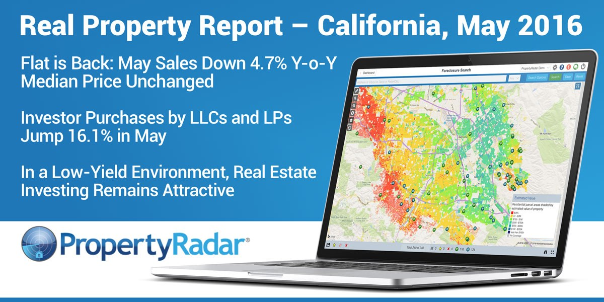 Flat is Back: May Sales Down 4.7% Y-o-Y, Median Price Unchanged Investor Purchases by LLCs and LPs Jump 16.1%. Real Estate Investing Remains Attractive