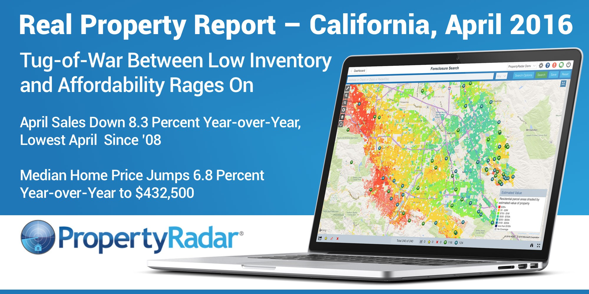 California single-family home and condominium sales were 35,978 in April 2016, an increase of 5.8% from a revised 34,002 in March 2016. PropertyRadar.