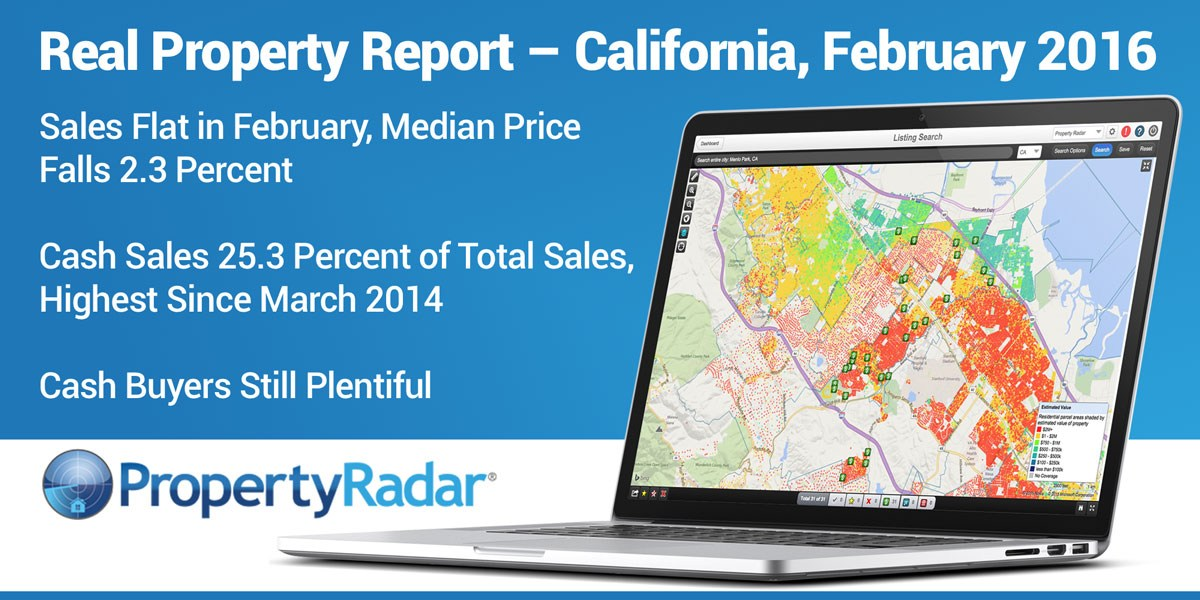 Sales Flat in Febraury, Median Price falls 2.3 percent; Cash Sales 25.3 Percent of Total Sales, Highest Since March 2014Cash Buyers Still Plentiful Despite High Prices