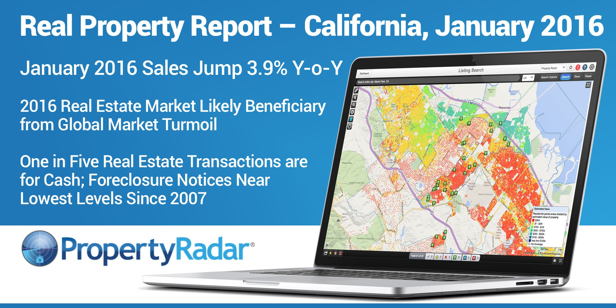 California's real estate market continues to be resilient. The extreme volatility in the equity markets has precipitated considerable outflows of cash, some of which may be finding its way into California real estate. Despite a slowdown in