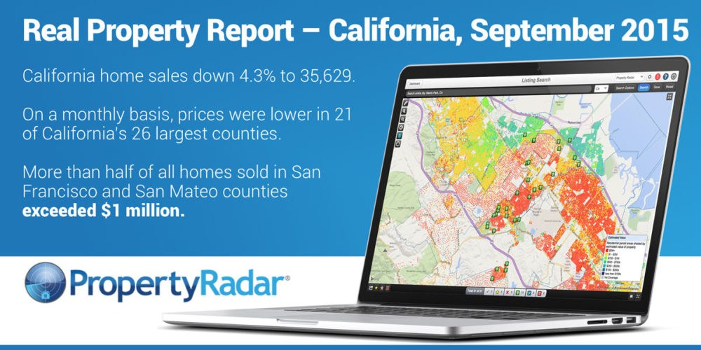 California Sales Slow in September, Down 4.3%. Median Price Remains Near 8-Year High. Half of Homes Sold in San Francisco and San Mateo Exceed $1Million