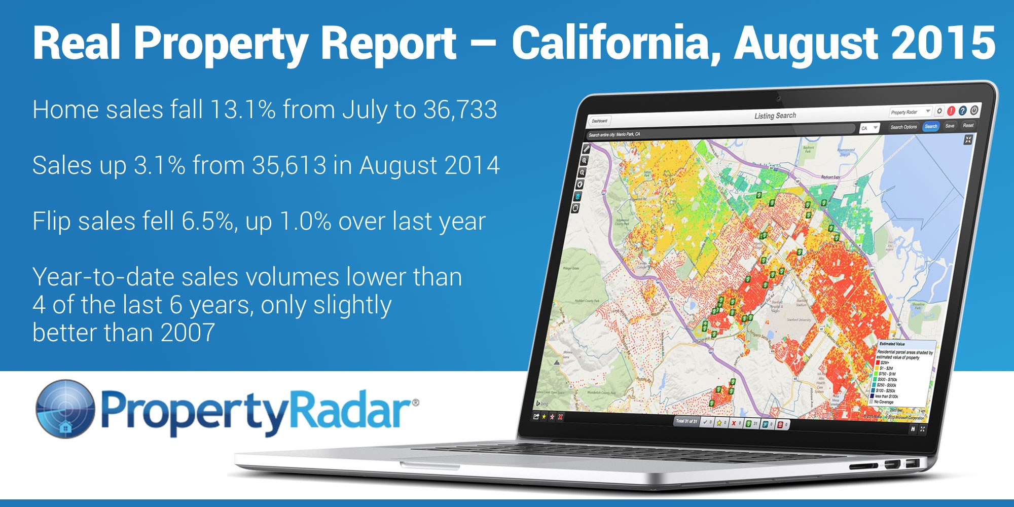 Real Property Report California August 2015: California Sales Stuck in Doldrums, Down 13.1 Percent from July, Median Price Falls 1.2 Percent to $415,000