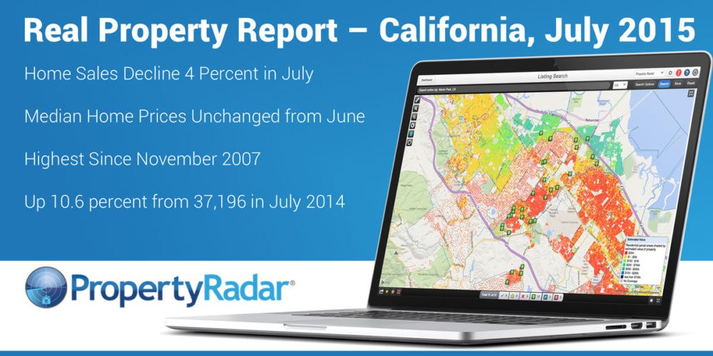 Real Property Report California July 2015: Summer Sales Cool Off. Home Sales Decline 4 Percent in July to 41,143, up 10.6 percent from 37,196 in July 2014