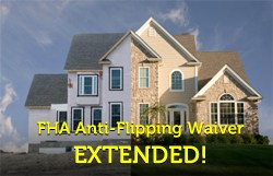 "In a move that will undoubtedly make investors stand up and cheer, the Department of Housing and Urban Development (HUD) announced today that the Federal Housing Administration is extending a temporary waiver of its ""anti-flipping"" rule. Th"