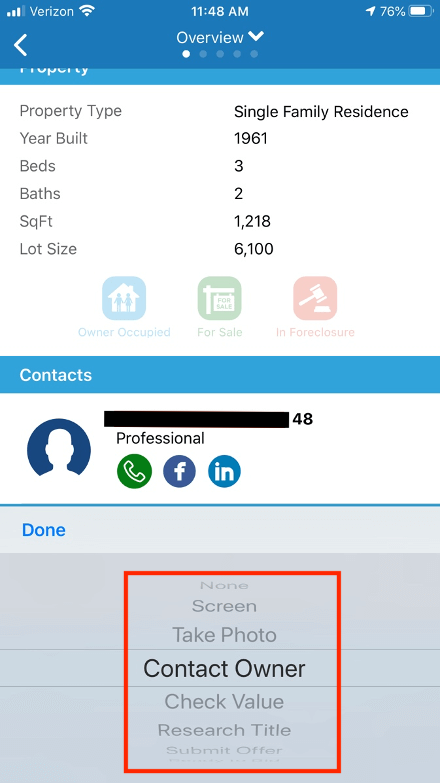 Set prospect status updates in PropertyRadar's field sales software mobile app