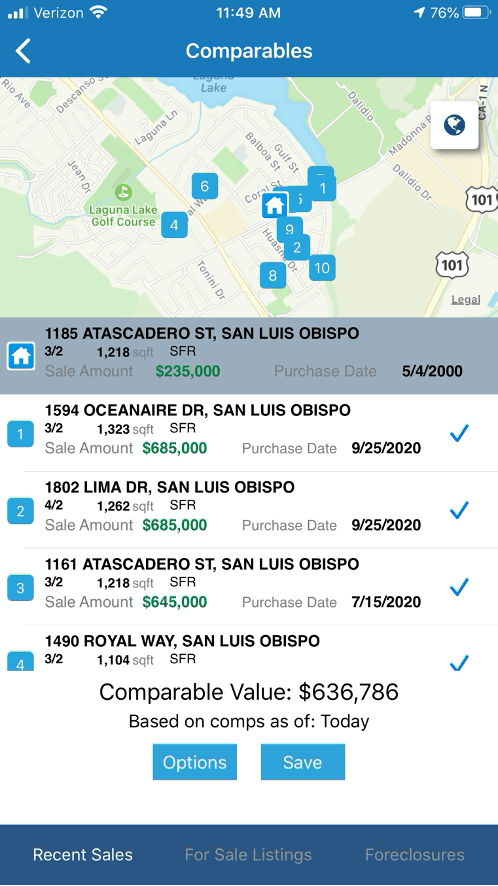 View comps in PropertyRadar's field sales software mobile app