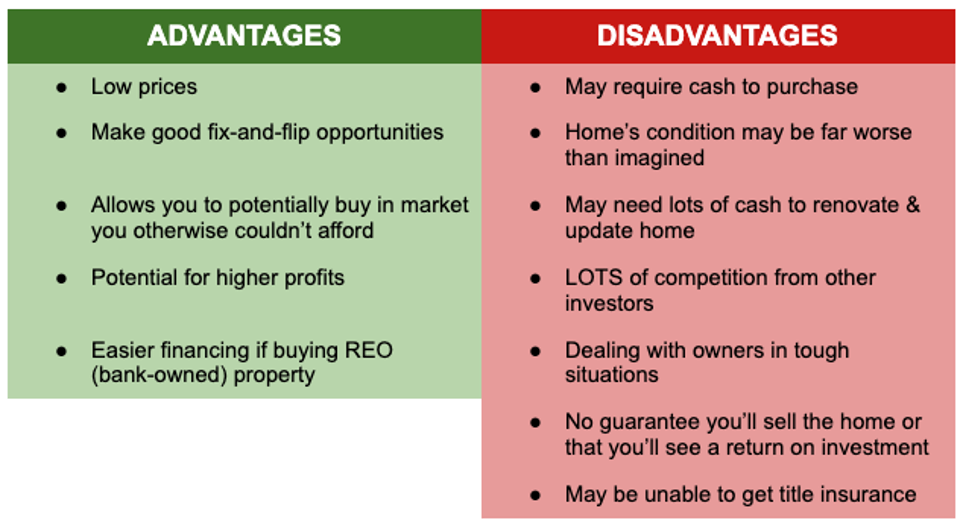Advantages and disadvantages (pros and cons) of buying distressed properties