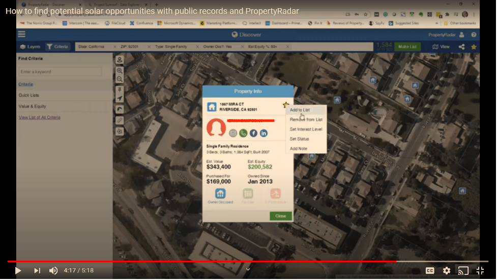 Add individual houses to your solar lead list with PropertyRadar
