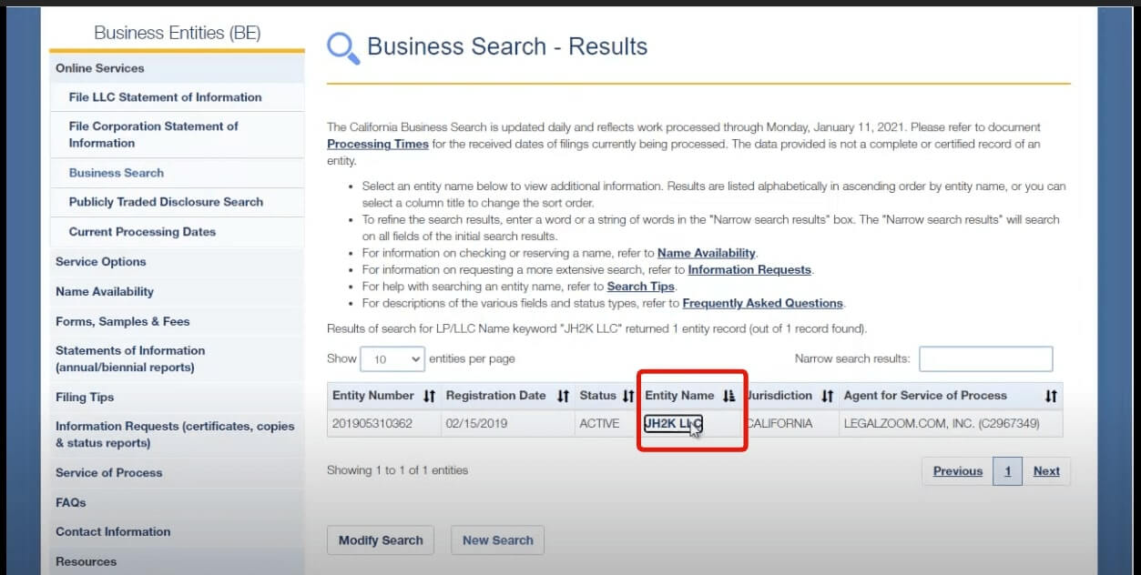 Search results LLC owners on secretary of state website